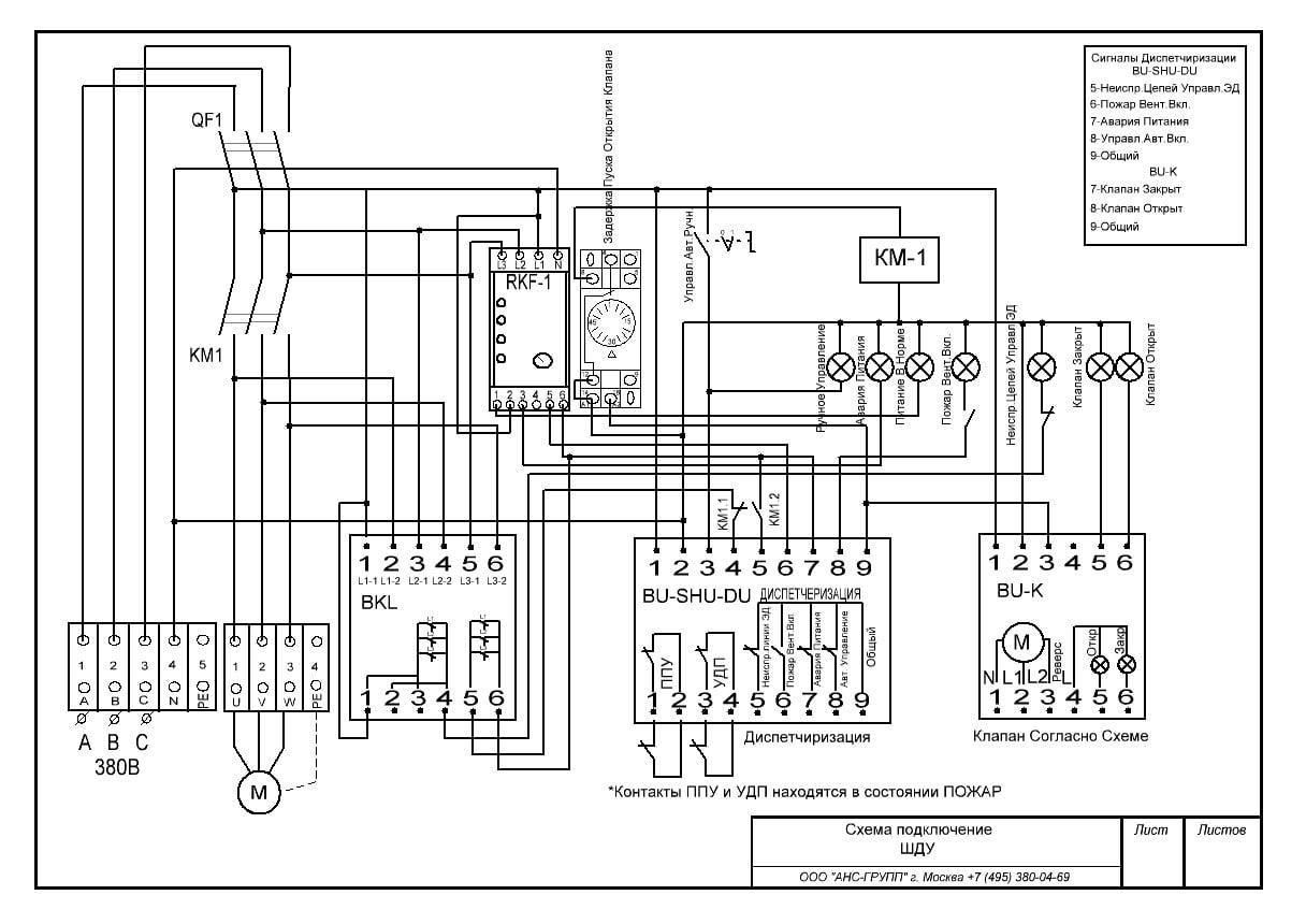 схема подключения шкафа управления дымоудалением ШУ-ДУ-04 (1,1 кВт)
