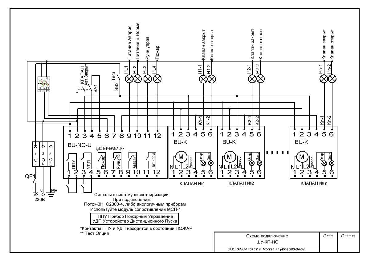 схема подключения шкафа управления огнезадерживающими (противопожарными) клапанами ШУ-КП-НО-24П-02